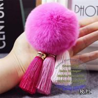 D Key Chain NEW Real Rabbit Fur Ball PomPom Car Phone Keyring Handbag Charm Key Ring