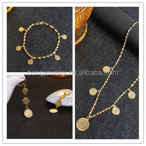 Bracelet/Necklace/Earrings set Islamic Muslim Arab Coin Money Sign Women 24k Gold Plated Filled Middle Eastern,Africa Jewelry