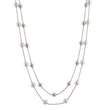 nieuwe dubbele <span class=keywords><strong>parel</strong></span> trui ketting legering ketting