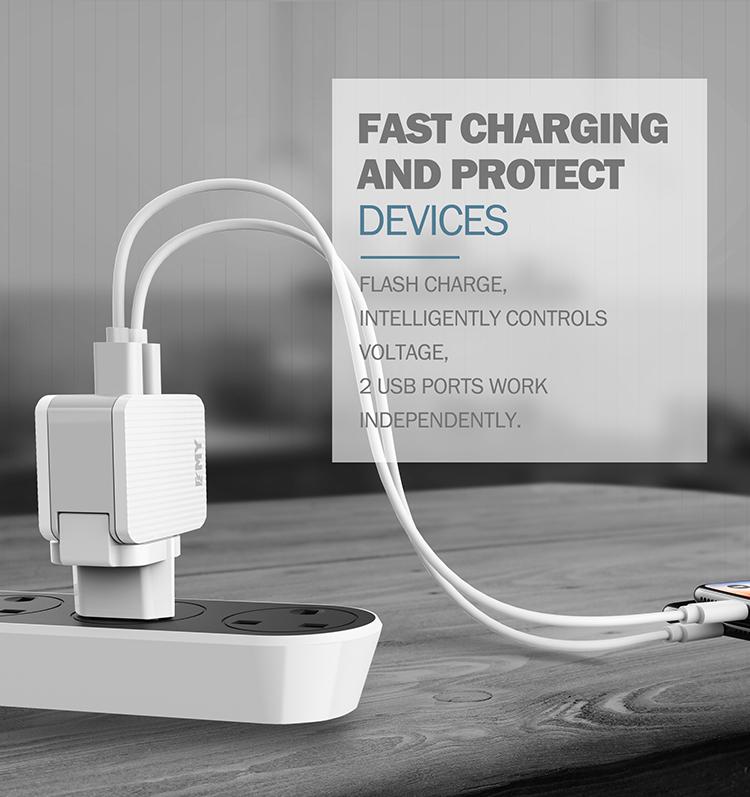 LDNIO SUB BRAND EMY MY-A203 2018 usb wall charger dual usb 2.4A with US&UK&EU&AU plug
