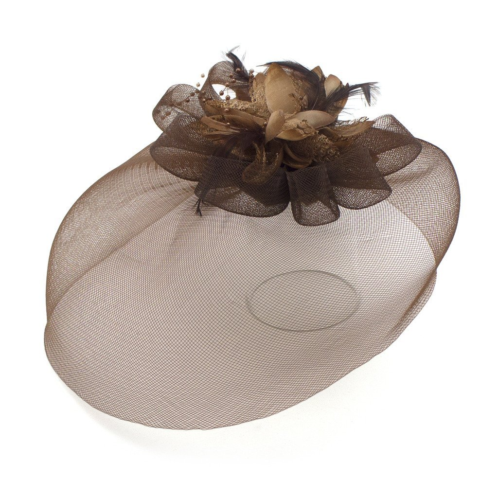 Ladies' Fashionable Feather Flower Bead Detailed and Mesh Ascot/Derby Day Fascinator Hat Headdress - Brown