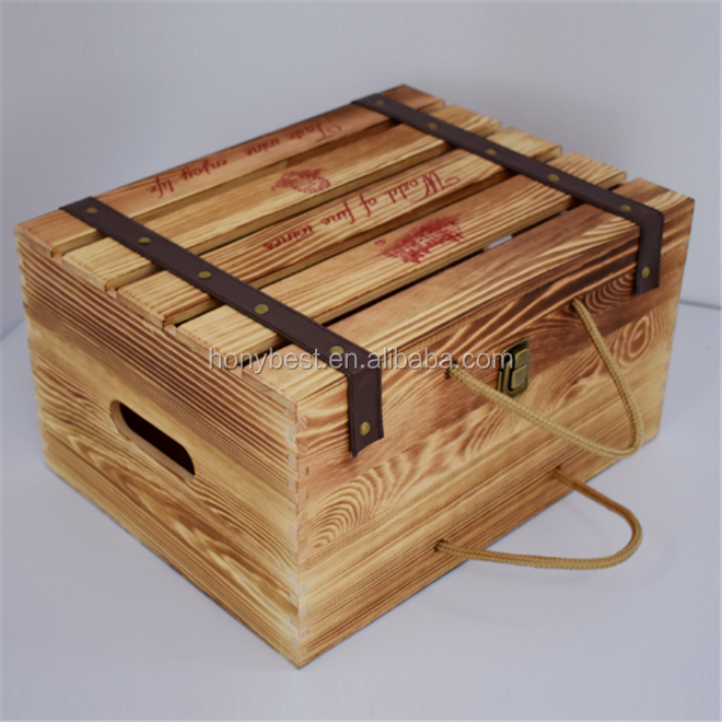 Shabby Rustic Wooden 6 Pack Wine and Beer Crate Box with Custom Printing Logo
