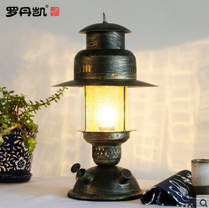 American Loft Bedroom Bedside Iron Metal Work Young man style Desk Lamps
