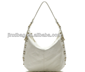 2014 white washed pu leather hobo style studded bags