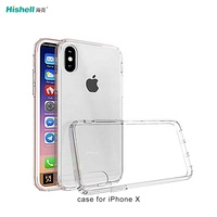 Hot Sale Four sides shockproof transparent TPU mobile phone case For iPhone X