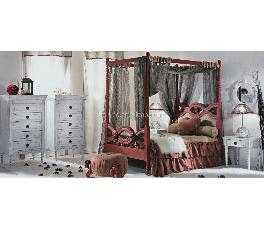- Red And White Roses Decorated Wood Engraved Canopy Bed Furniture