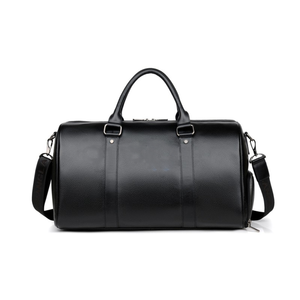 Mens Black Full Grain Leather Duffle Bag Vintage Expandable Duffle Bag With Shoe Compartment