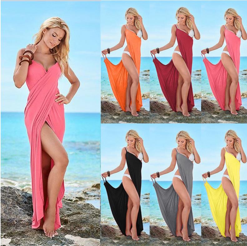 93215000a64 Amazon hot style sexy euramerican multicolor summer beach dress sexy deep v-neck  strap maxi