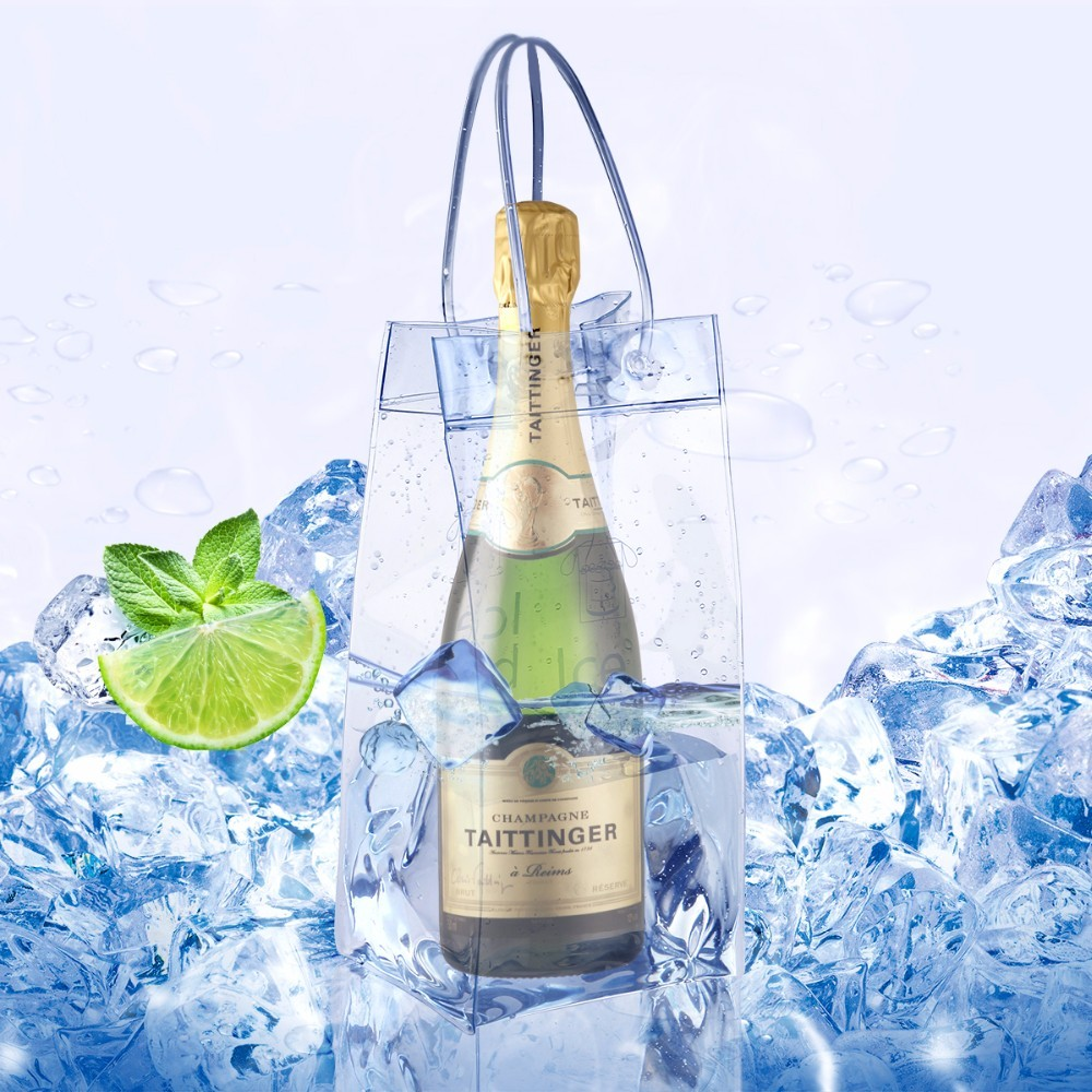 High quality durable PVC champagne wine ice bag with handle