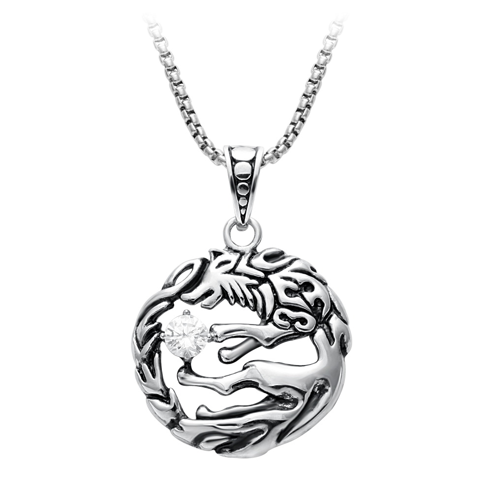 jewelry vintage animal necklace chain product silver pendants men pated horse male irish amulet round wholesale for symbols jewellery accessories rope pendant knot qaytxkaad