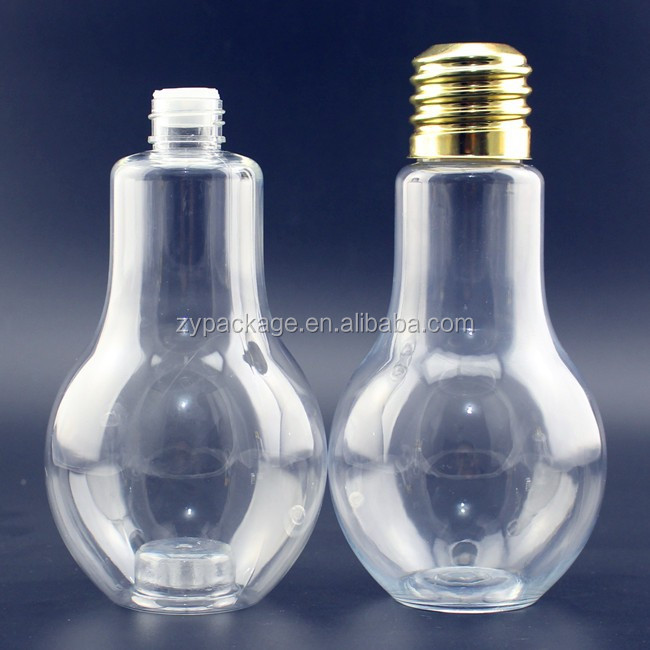 PET light bulb bottle 400ml light bulb pet bottle,400ml clear pet light bulb bottle with aluminium cap and straw