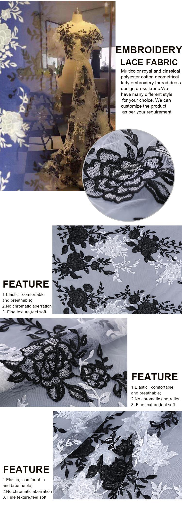 Renda Putih Hitam Grosir Kain Bordir Kustom Mewah Renda untuk Gaun Fashion