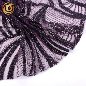 Good price elegant mesh polyester purple sequins decorative fabric tulle embroidered