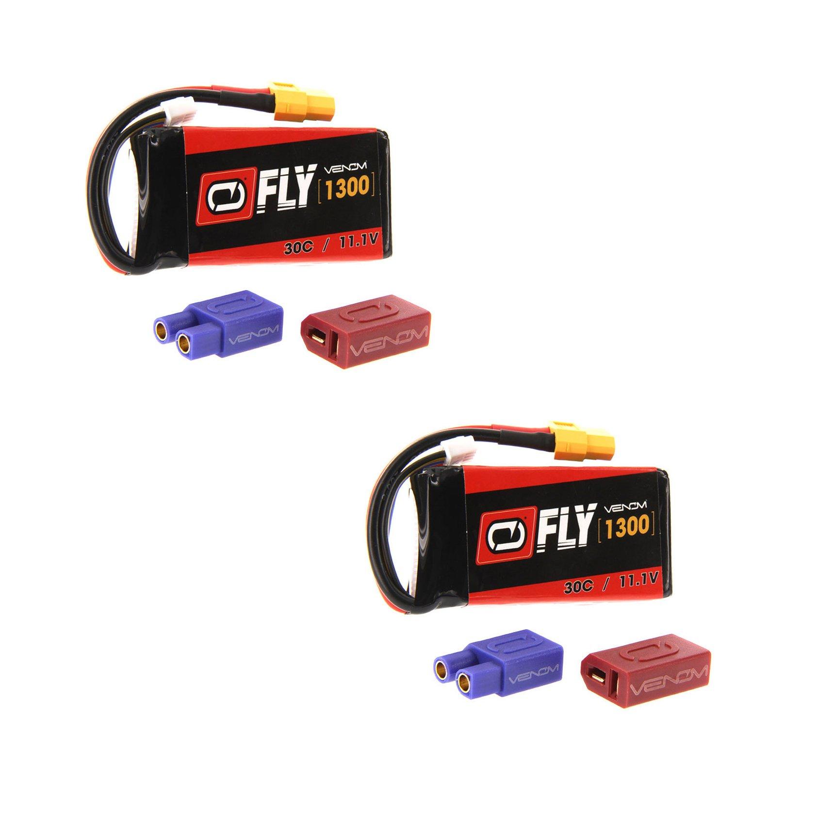 Venom Fly 30C 3S 1300mAh 11.1V LiPo Battery with UNI 2.0 Plug (XT60/Deans/EC3) x2 Packs Compare to E-flite EFLB13003S20