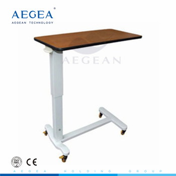 AG-OBT011 patient height adjusted steel base hospital bed table with drawer
