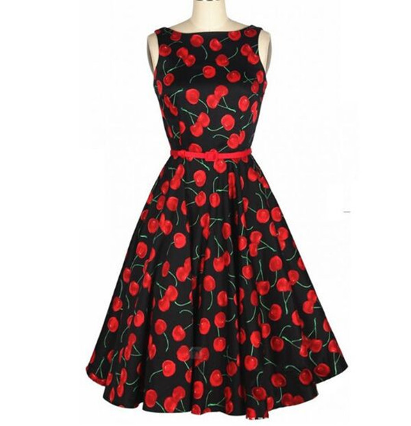Fashion Vintage Style Plus Size New Arrival Dresses O Neck Sleeveless Slim Floral Print Summer Women Dress Causal Party Dresses