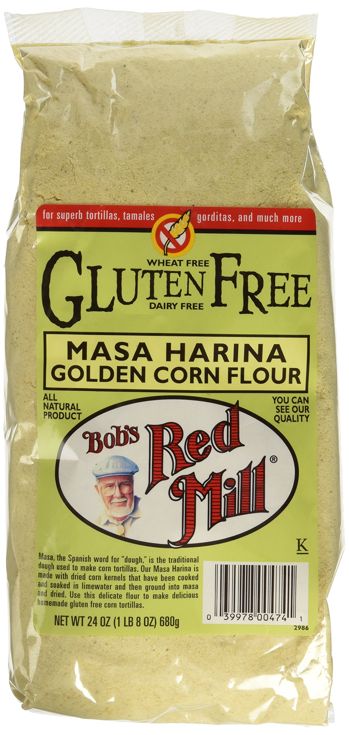 Bob's Red Mill Gluten Free Golden Masa Harina Corn Flour, 24-ounce