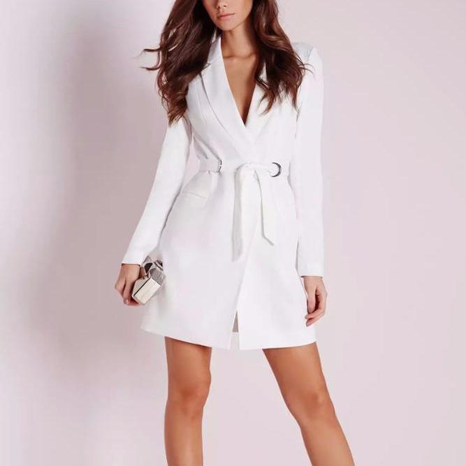 Wanita Baru Putih Blazer D-Ring Belt Lengan Panjang Musim Gugur Gaun Blazer