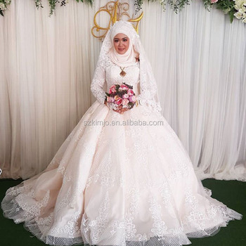 Muslim Bridal Wedding Dress 2017 High Neck Lace Liques Long Sleeve