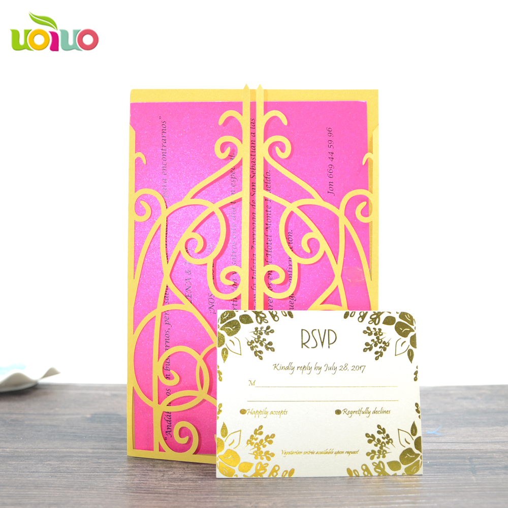 Modern Design Laser Cut Yellow Flower Lace Birthday Invitation Cards For Friends