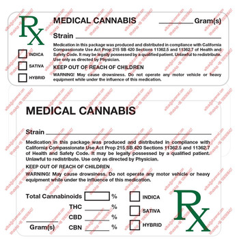 Ca California Rx Strain Weed 100 Mmj Labels Sticker - Buy Medical Marijuana  Labels,Marijuana Labels,Mmj Label Product on Alibaba com