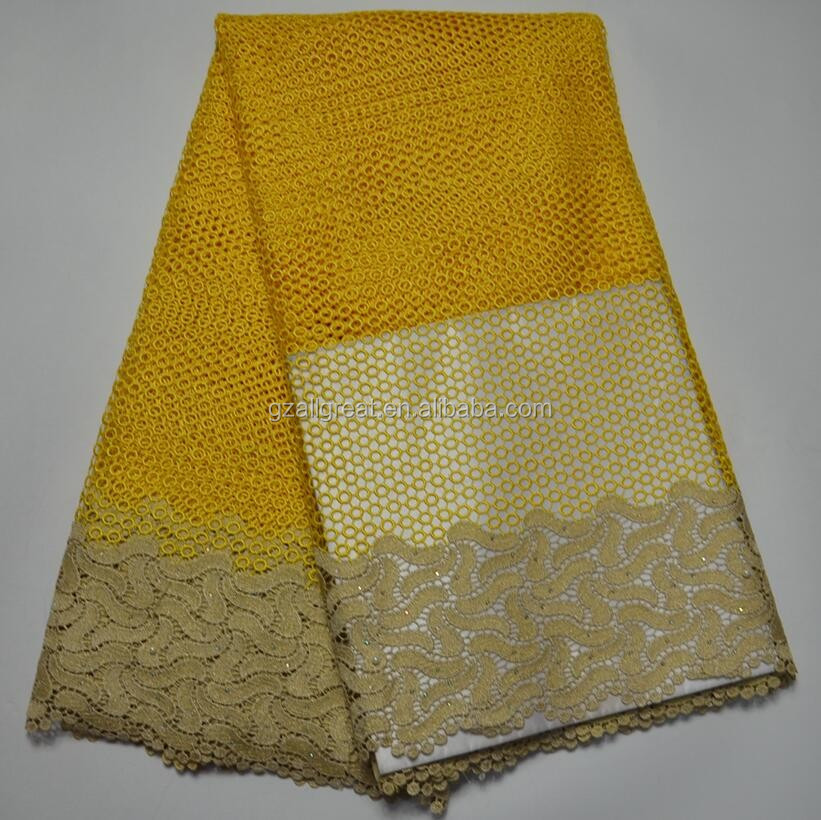 AG4714#2 2017african yellow guipure lace/fashion cupion lace/cord lace fabric with rhinestones