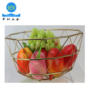 Home Usage Gold Metal Wire Mesh Storage Fruit Basket for Kitchen