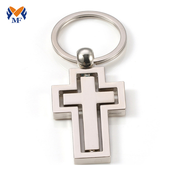 Art and craft souvenir metal silver cross keychain favors