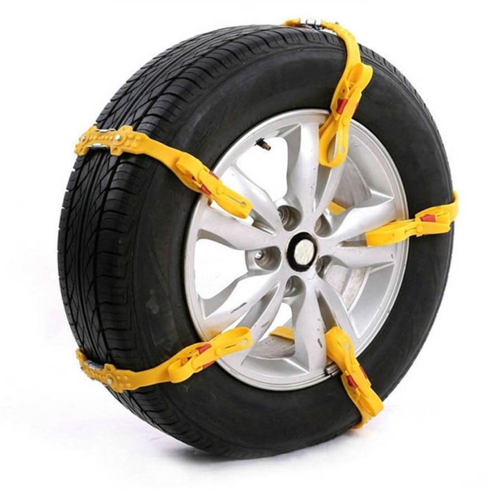 Car Anti-skid Snow Chains, SUKEQ Easy Installation Adjustable Anti Slip Tire Chain Car Security Tire Belt Mud Sand Snow Chains For Truck, Car, Auto, SUV , Yellow (8PC)