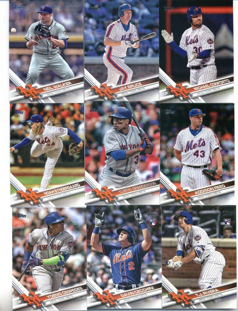 2017 Topps Series 2 New York Mets Team Set of 13 Cards: Michael Conforto(#408), Neil Walker(#416), New York Mets(#426), Jay Bruce(#428), Curtis Granderson(#525), Addison Reed(#546), T.J. Rivera(#553), Noah Syndergaard(#555), Yoenis Cespedes(#600), Gavin Cecchini(#604), Zack Wheeler(#631), Steven