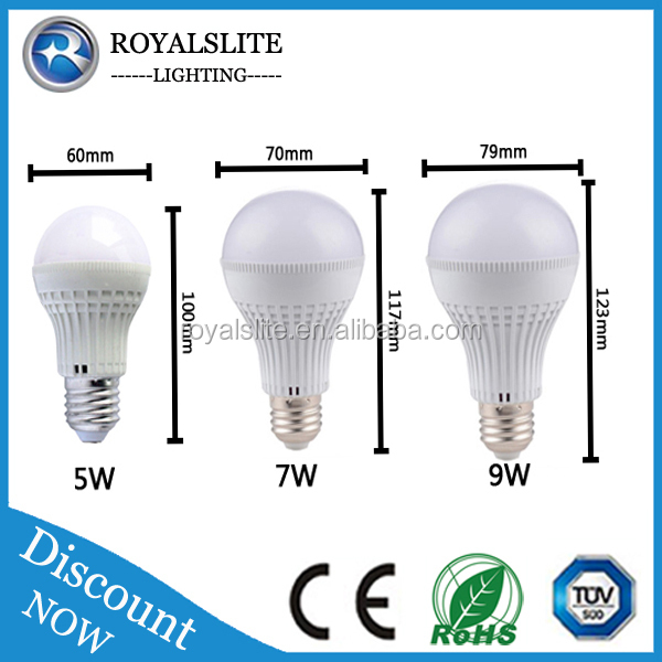 Emergency led light bulb E27 7w energy saving rechargeable battery led plastic bulb 9w B22 with smd2835 for night market