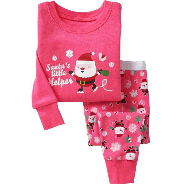get quotations bafouy little girls santa claus print toddler kids pjs set christmas pajama - Girls Christmas Nightgowns