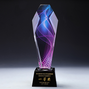 Factory wholesale crystal trophy sports award conference award new style trophy free production LOGO gift box