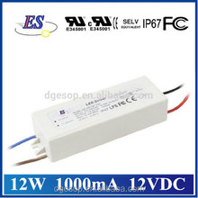 12W 1A 12V Constant Current LED Driver Power Supply with waterproof IP67