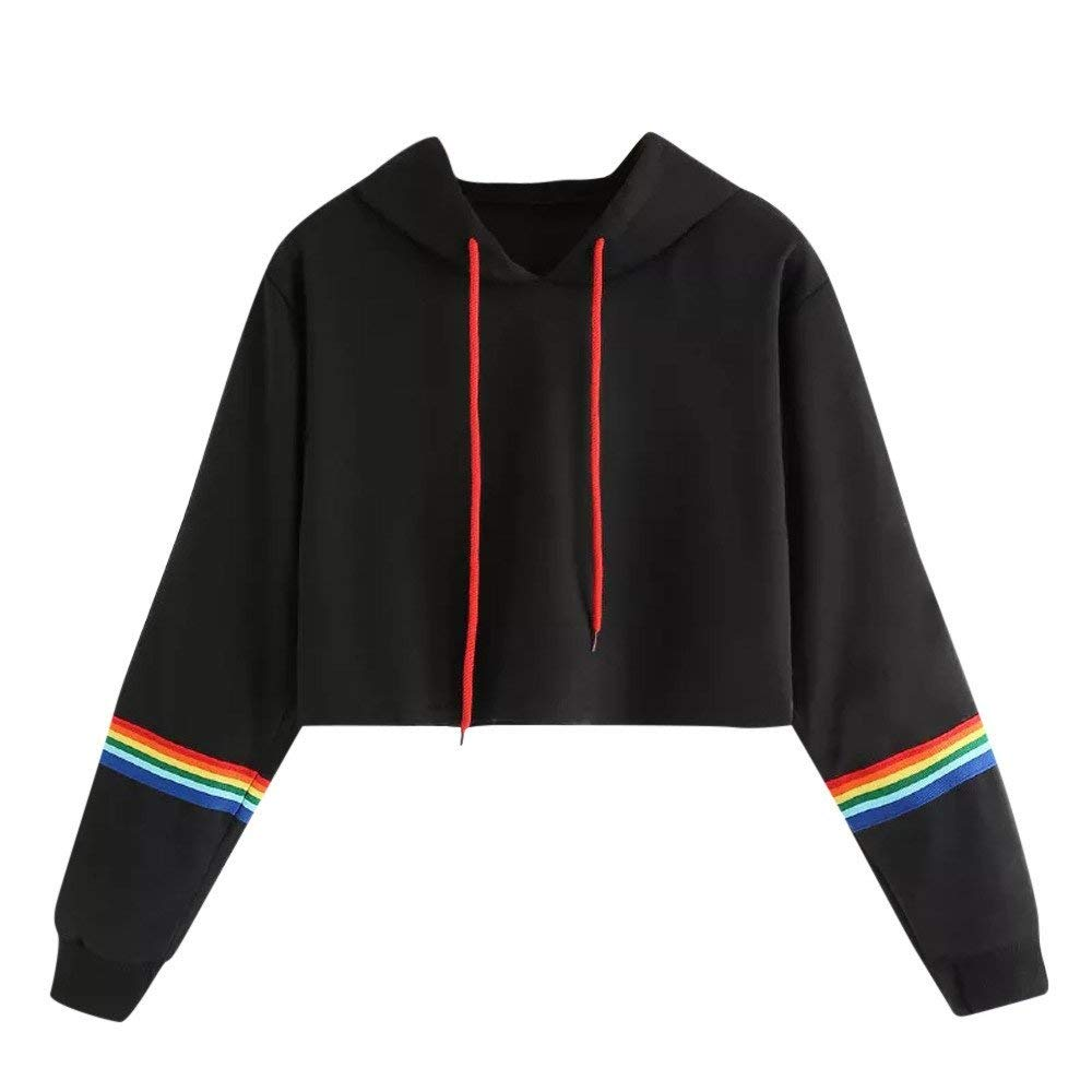 COOKI Women Teen Girls Cute Rainbow Crop Sweatshirt Hoodie Long Sleeve Crop Top Hooded Sweatshirt Jumper Pullover Tops