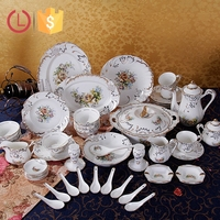 Porcelain 76pcs dinner set design flowers for home