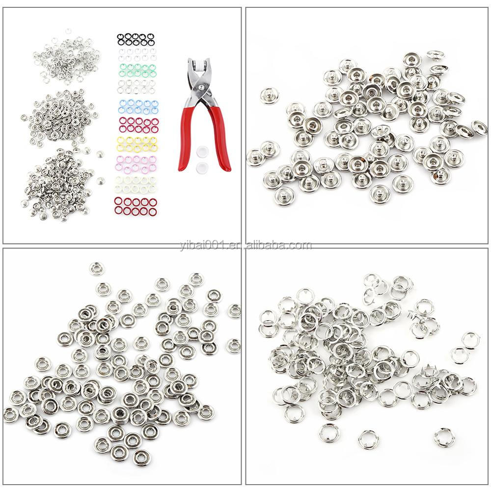 100pcs 9.5mm Mixed Colours Prong Ring Press Studs Snap Fasteners with Pliers DIY Home Use