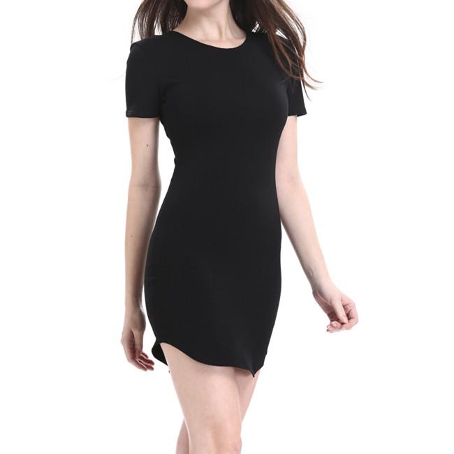 Blank Design Short Sleeve O Neck T-Shirt Dress Sexy Tight Long Women T Shirt cafa4ea7611c