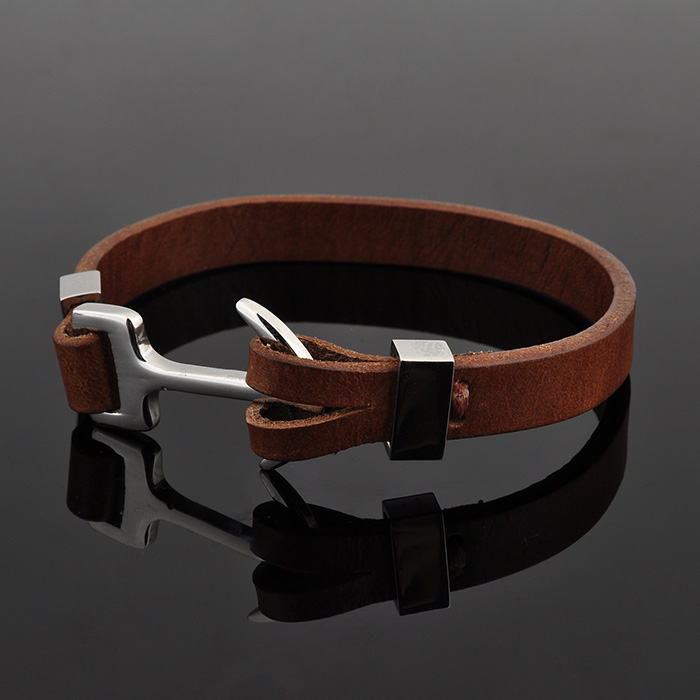 Custom Mens Jewelry Plain Brown Black Leather Stainless Steek Anchor Bracelet
