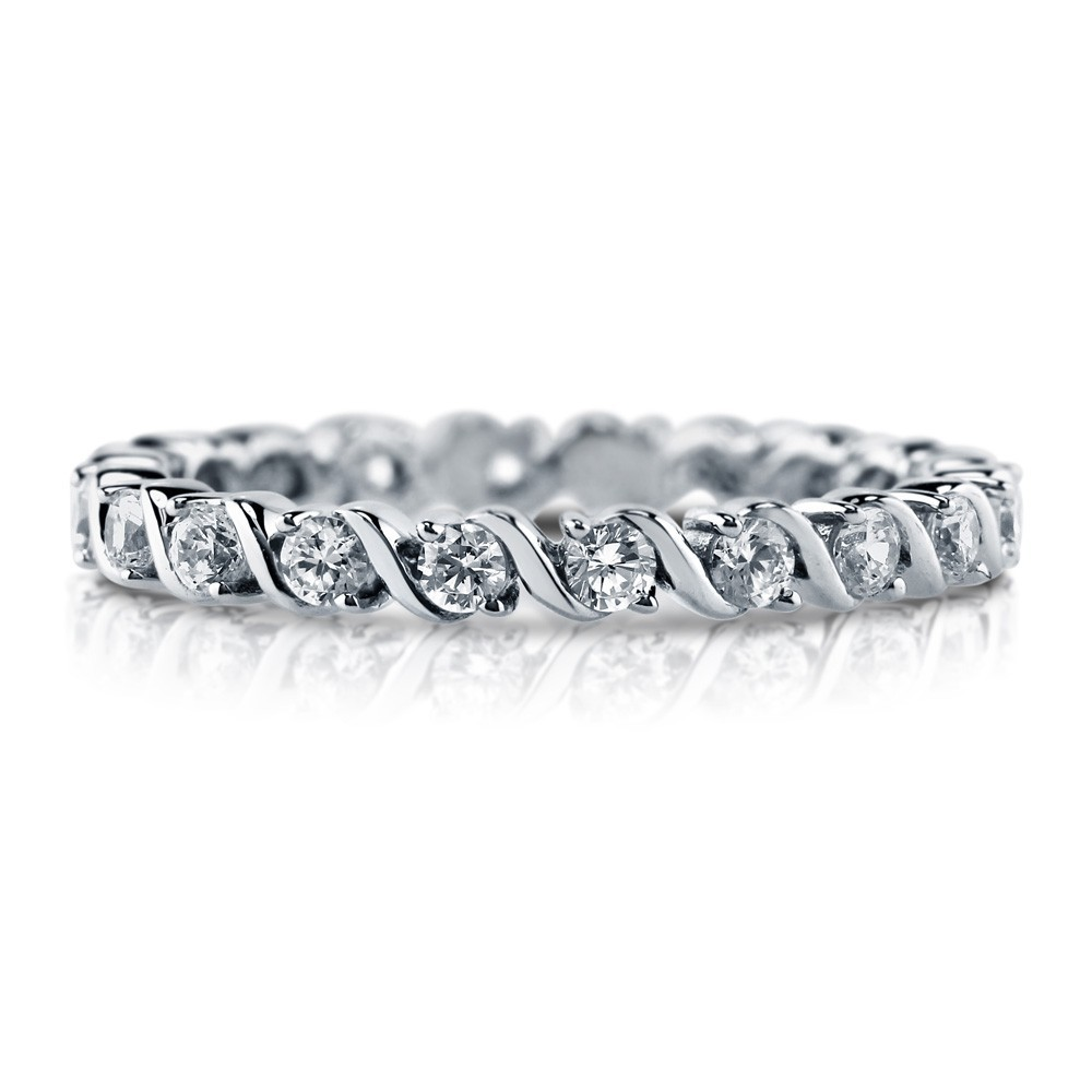 925 sterling silver engraved CZ Eternity engagement ring R500391