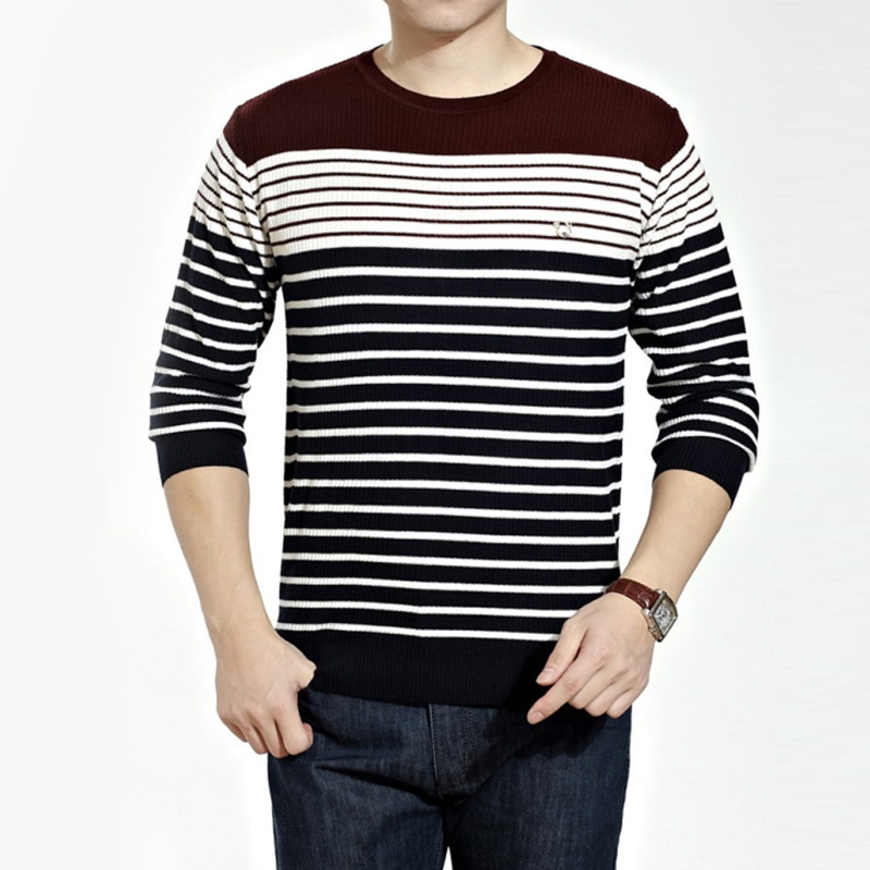 Winter Sweater Mens Casual Fashion Round neck Long Sleeve Slim Fit Pullover Stripe Knitted Sweater