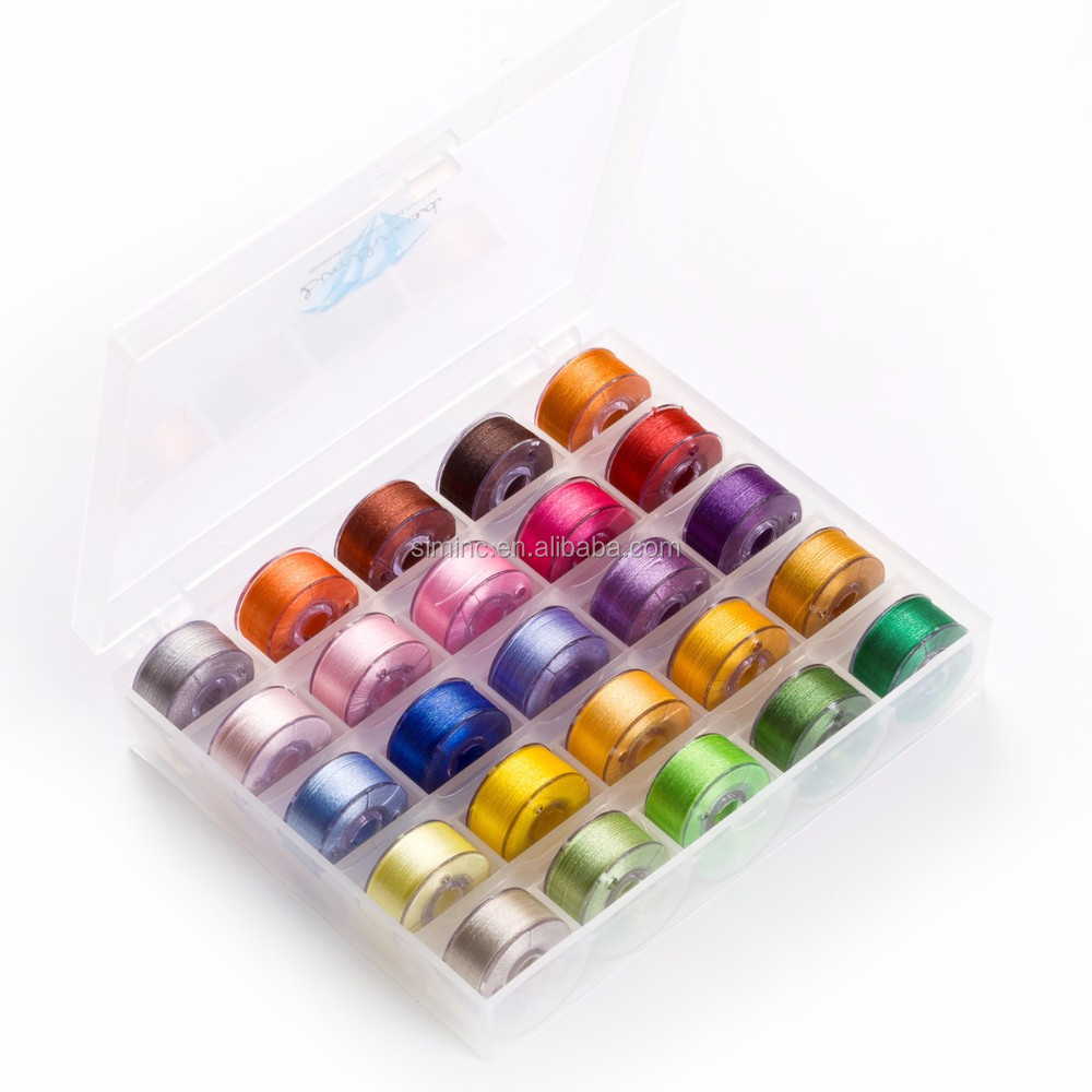 Prewound bobbins embroidery thread in Bobbin Box Organizer for home/commercial embroidery machines