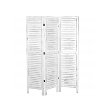 MyGift Whitewashed <span class=keywords><strong>Holz</strong></span> 3 Panel Bildschirm Louvered Raumteiler