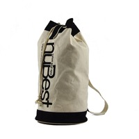 Vertical Bucket Cylindrical Shaped Canvas Beam Port Drawstring Sports Basketball Shoulders Backpack Bags