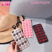 3D hearts bling glitter pattern soft tpu cell phone cover for iphone 7 7 plus 8 8plus clear transparent phone case