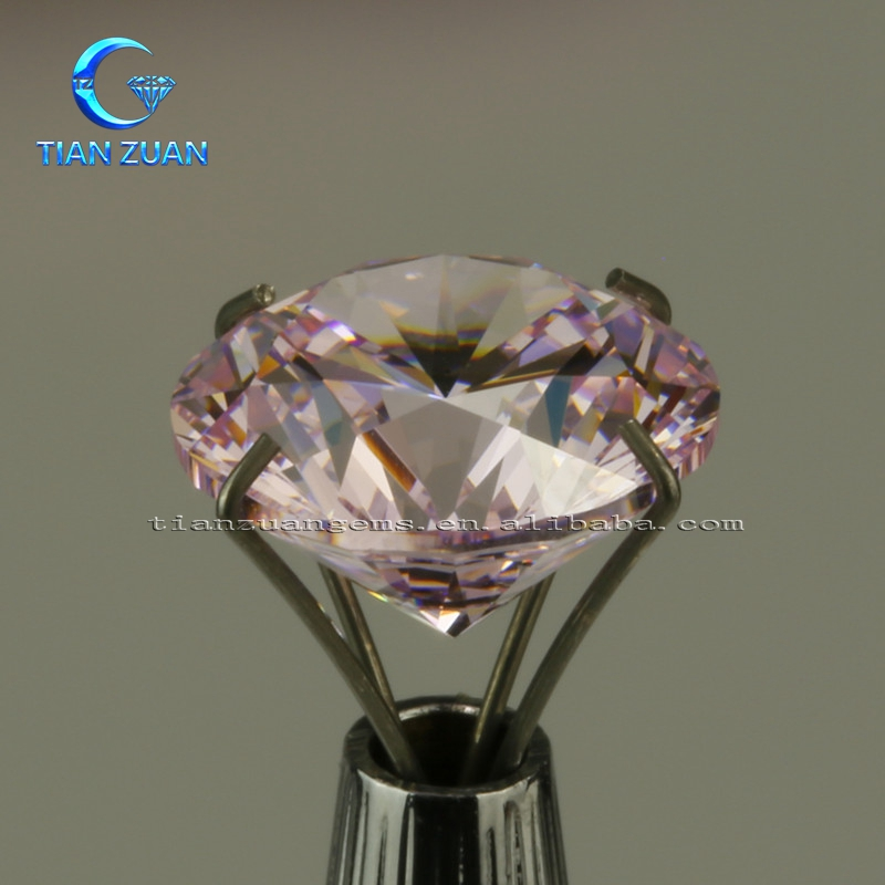 AAAAA Round Shape Machine Cut Pink CZ Gems For Jewelry Making