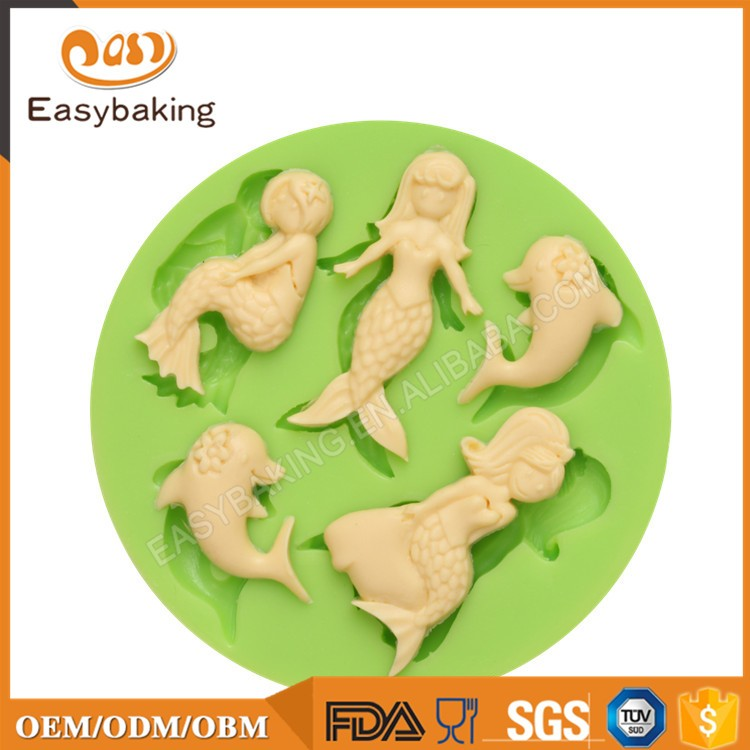 ES-0704 Mermaids and Dolphins Round Silicone Molds Fondant Mould for cake decorating