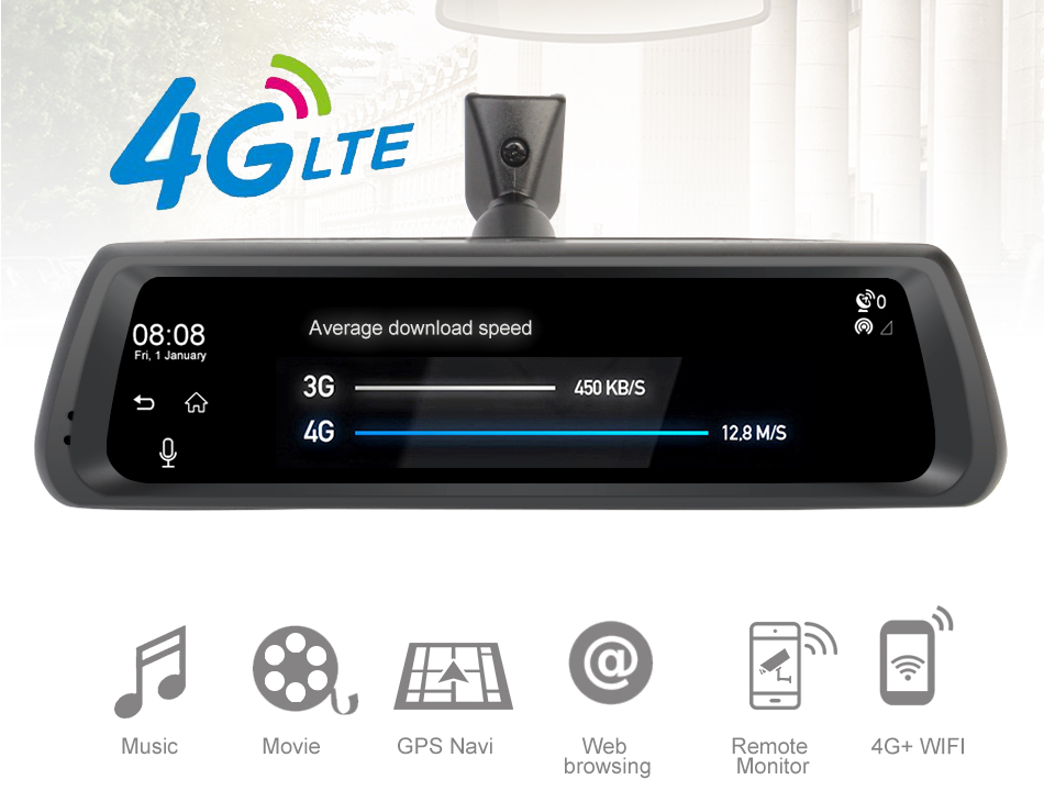 4g Full Touch Screen Multifunctionele Auto DVR Achteruitkijkspiegel Met GPS, Navigatie, Bluetooth, ADAS Dash Cam