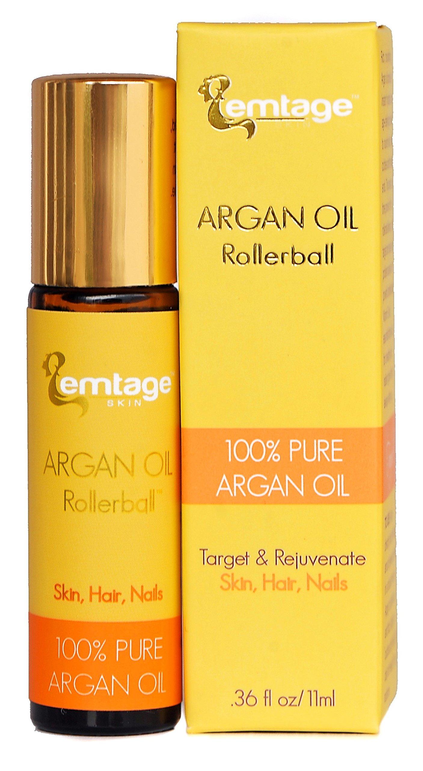 Argan Oil Rollerball - 100% Pure, Organic, Cold Pressed Moroccan Argan Oil in a Roll-on. Argan Oil Treatment for Hair, Skin, Nails .33 fl oz. Anti-Aging.