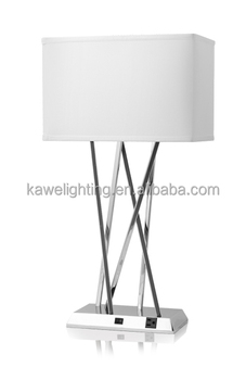 2015 best price hot sale brushed nickel hotel table lamp with 2 outlets and white fabric